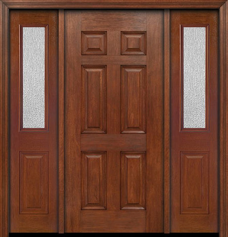 WDMA 54x80 Door (4ft6in by 6ft8in) Exterior Mahogany Six Panel Single Entry Door Sidelights 1/2 Lite Rain Glass 1