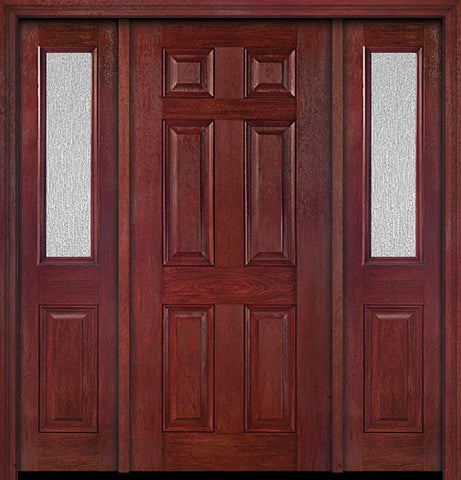 WDMA 54x80 Door (4ft6in by 6ft8in) Exterior Cherry Six Panel Single Entry Door Sidelights 1/2 Lite Rain Glass 1