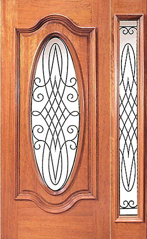 WDMA 54x80 Door (4ft6in by 6ft8in) Exterior Mahogany Oval Front One Sidelight Door Decorative Ironwork 1