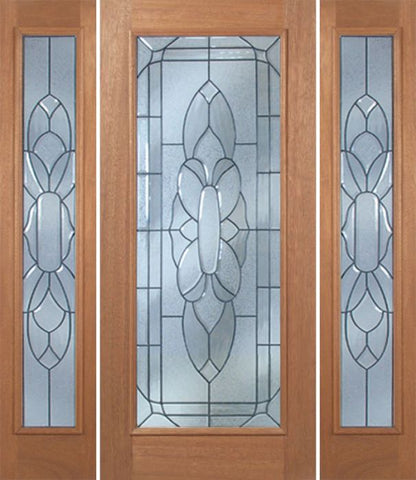 WDMA 54x80 Door (4ft6in by 6ft8in) Exterior Mahogany Livingston Single Door/2side w/ BO Glass - 6ft8in Tall 1