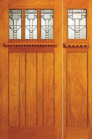 WDMA 54x80 Door (4ft6in by 6ft8in) Exterior Mahogany Mission Style Door and Sidelight Three-Lite Glass 1