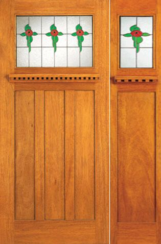 WDMA 54x80 Door (4ft6in by 6ft8in) Exterior Mahogany Stained Glass Mission Style Door and Sidelight 1
