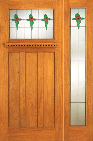 WDMA 54x80 Door (4ft6in by 6ft8in) Exterior Mahogany Stained Glass Craftsman Style Door and Full Sidelight 1