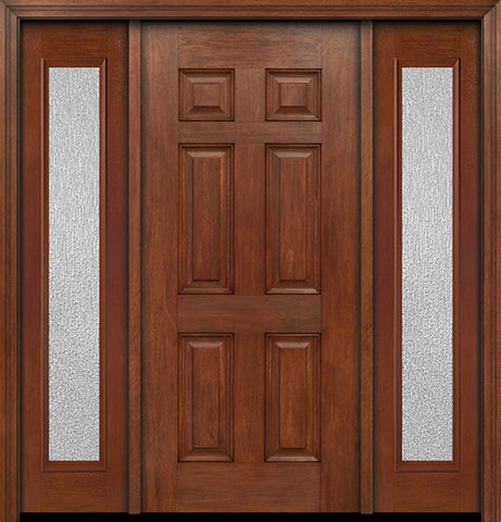 WDMA 54x80 Door (4ft6in by 6ft8in) Exterior Mahogany Six Panel Single Entry Door Sidelights Full Lite Rain Glass 1