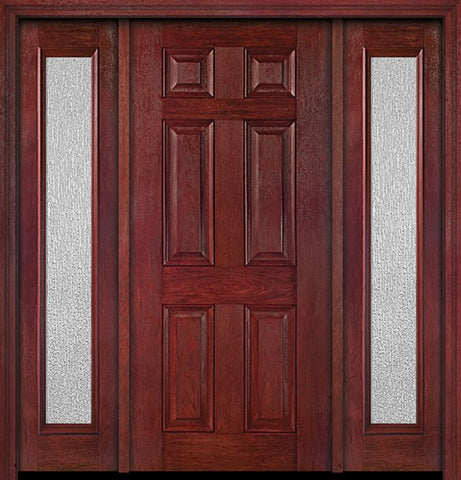 WDMA 54x80 Door (4ft6in by 6ft8in) Exterior Cherry Six Panel Single Entry Door Sidelights Full Lite Rain Glass 1