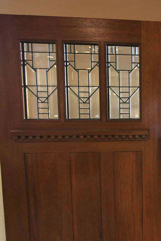 WDMA 54x80 Door (4ft6in by 6ft8in) Exterior Mahogany Craftsman Three-Lite Door and Full Lite Sidelight 4