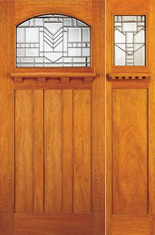 WDMA 54x80 Door (4ft6in by 6ft8in) Exterior Mahogany Mission Style Door and Sidelight Leaded Glass 1