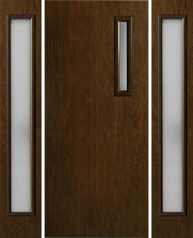 WDMA 54x80 Door (4ft6in by 6ft8in) Exterior Cherry Contemporary One Slim Vertical Lite Single Entry Door Sidelights 1
