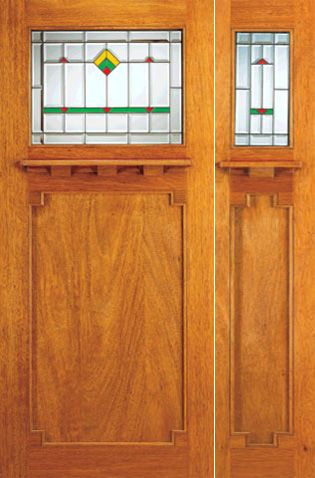 WDMA 54x80 Door (4ft6in by 6ft8in) Exterior Mahogany Doors and Sidelight Frank Lloyd Wright Glass Design 1