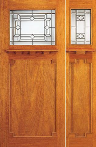 WDMA 54x80 Door (4ft6in by 6ft8in) Exterior Mahogany Mission Style Door and Sidelight Triple Glazed 1