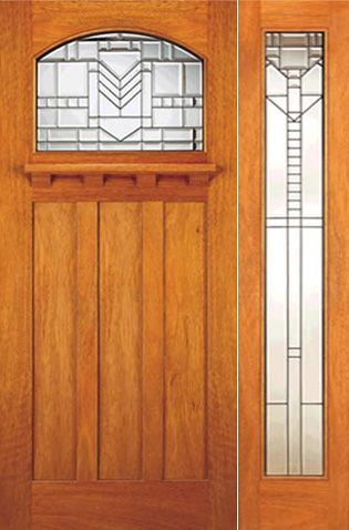 WDMA 54x80 Door (4ft6in by 6ft8in) Exterior Mahogany Craftsman Style Door and Full lite Sidelight 1