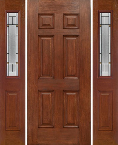 WDMA 54x80 Door (4ft6in by 6ft8in) Exterior Mahogany Six Panel Single Entry Door Sidelights 1/2 Lite w/ TP Glass 1