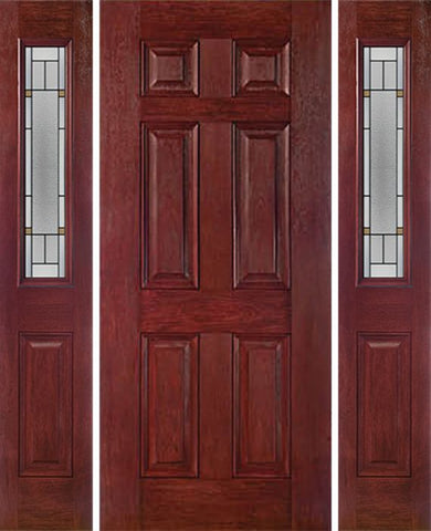 WDMA 54x80 Door (4ft6in by 6ft8in) Exterior Cherry Six Panel Single Entry Door Sidelights 1/2 Lite TP Glass 1