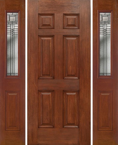 WDMA 54x80 Door (4ft6in by 6ft8in) Exterior Mahogany Six Panel Single Entry Door Sidelights 1/2 Lite w/ KP Glass 1