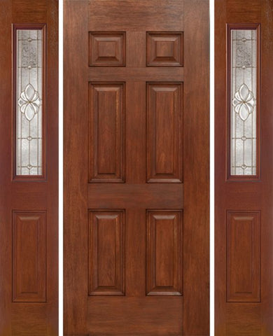 WDMA 54x80 Door (4ft6in by 6ft8in) Exterior Mahogany Six Panel Single Entry Door Sidelights 1/2 Lite w/ HM Glass 1
