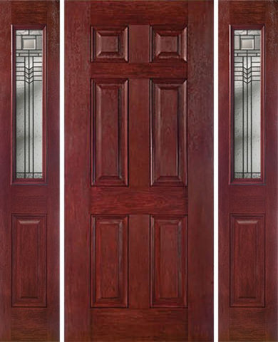 WDMA 54x80 Door (4ft6in by 6ft8in) Exterior Cherry Six Panel Single Entry Door Sidelights 1/2 Lite KP Glass 1
