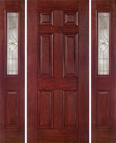 WDMA 54x80 Door (4ft6in by 6ft8in) Exterior Cherry Six Panel Single Entry Door Sidelights 1/2 Lite HM Glass 1