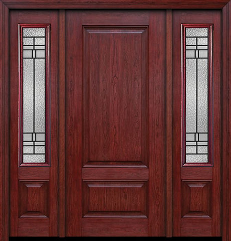 WDMA 54x80 Door (4ft6in by 6ft8in) Exterior Cherry Two Panel Single Entry Door Sidelights Pembrook Glass 1