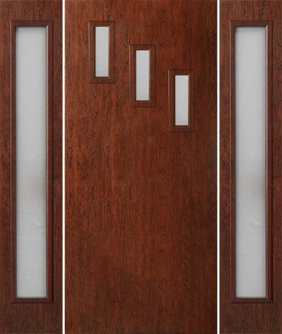 WDMA 54x80 Door (4ft6in by 6ft8in) Exterior Cherry Contemporary Modern 3 Lite Single Entry Door Sidelights FC513 1