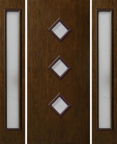 WDMA 54x80 Door (4ft6in by 6ft8in) Exterior Cherry Contemporary Three Center Lite Single Entry Door Sidelights 1