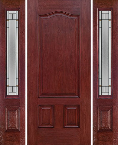 WDMA 54x80 Door (4ft6in by 6ft8in) Exterior Cherry Three Panel Single Entry Door Sidelights TP Glass 1