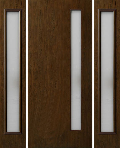 WDMA 54x80 Door (4ft6in by 6ft8in) Exterior Cherry Contemporary One Vertical Lite Single Entry Door Sidelights 1
