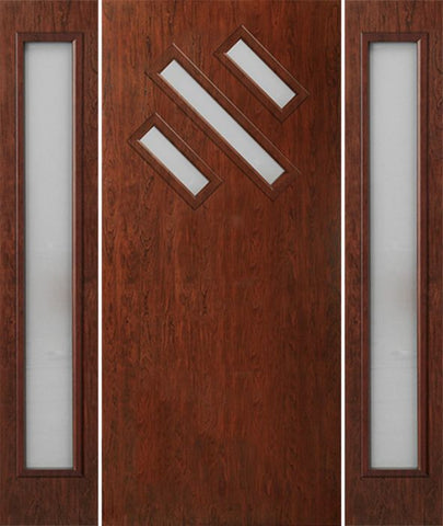 WDMA 54x80 Door (4ft6in by 6ft8in) Exterior Cherry Contemporary Modern 3 Lite Single Entry Door Sidelights FC534 1