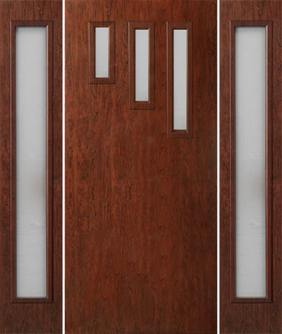 WDMA 54x80 Door (4ft6in by 6ft8in) Exterior Cherry Contemporary Modern 3 Lite Single Entry Door Sidelights FC532 1