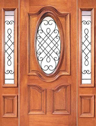 WDMA 54x80 Door (4ft6in by 6ft8in) Exterior Mahogany Oval Door Two Sidelights Ironwork 1