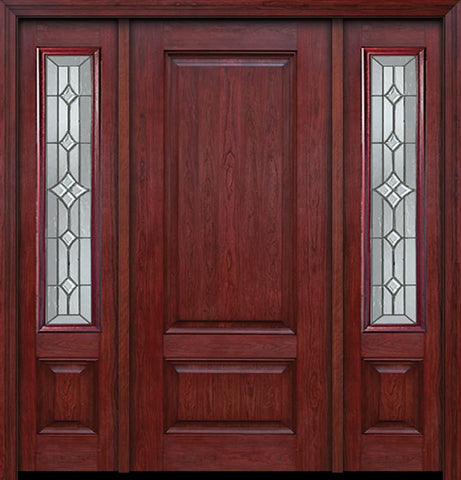 WDMA 54x80 Door (4ft6in by 6ft8in) Exterior Cherry Two Panel Single Entry Door Sidelights Windsor Glass 1