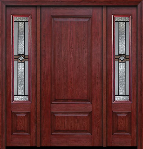 WDMA 54x80 Door (4ft6in by 6ft8in) Exterior Cherry Two Panel Single Entry Door Sidelights Mission Ridge Glass 1