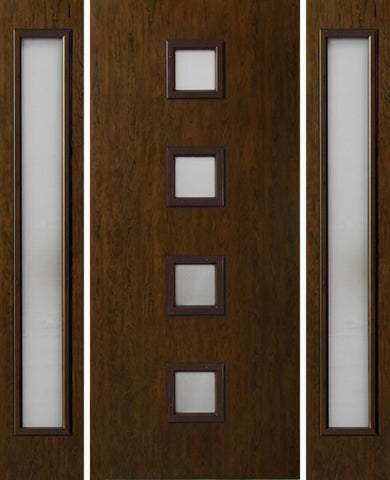 WDMA 54x80 Door (4ft6in by 6ft8in) Exterior Cherry Contemporary Four Square Lite Single Entry Door Sidelights 1