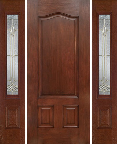 WDMA 54x80 Door (4ft6in by 6ft8in) Exterior Mahogany Three Panel Single Entry Door Sidelights BT Glass 1