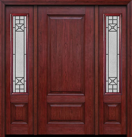 WDMA 54x80 Door (4ft6in by 6ft8in) Exterior Cherry Two Panel Single Entry Door Sidelights Courtyard Glass 1