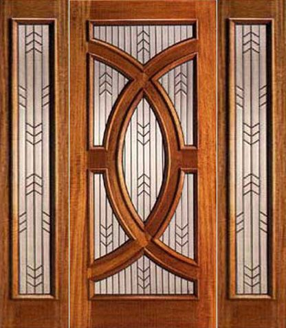 WDMA 54x96 Door (4ft6in by 8ft) Exterior Mahogany Single Door and 2 Sidelights Triple Glazed Circle 1