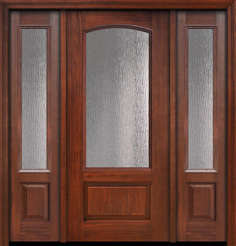 WDMA 56x80 Door (4ft8in by 6ft8in) French Cherry IMPACT | 80in 3/4 Arch Lite Privacy Glass Door /2side 1
