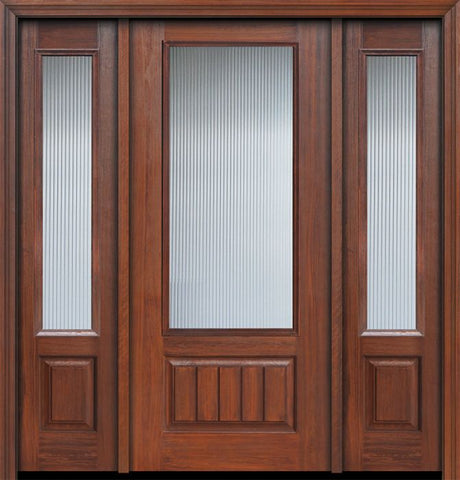 WDMA 56x80 Door (4ft8in by 6ft8in) French Cherry 80in 3/4 Lite Privacy Glass V-Grooved Panel Door /2side 1