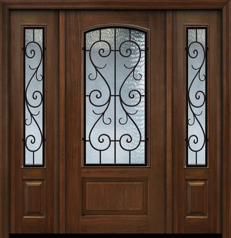 WDMA 56x80 Door (4ft8in by 6ft8in) Exterior Cherry IMPACT | 80in 1 Panel 3/4 Arch Lite St Charles Door /2side 1