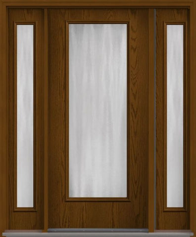 WDMA 56x80 Door (4ft8in by 6ft8in) French Oak Chinchilla Full Lite Flush Fiberglass Exterior Door 2 Sides HVHZ Impact 1