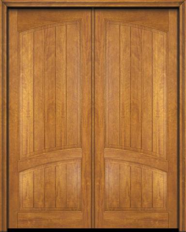 WDMA 56x96 Door (4ft8in by 8ft) Interior Swing Mahogany 2 Panel Arch Top V-Grooved Plank Rustic-Old World Exterior or Double Door 2