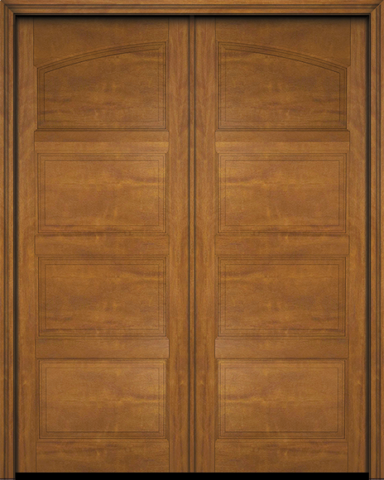 WDMA 56x96 Door (4ft8in by 8ft) Exterior Barn Mahogany Arch Top 4 Panel Transitional or Interior Double Door 2