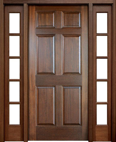 WDMA 56x96 Door (4ft8in by 8ft) Exterior Swing Mahogany Colonial Six Panel Single Door/2Sidelight 1