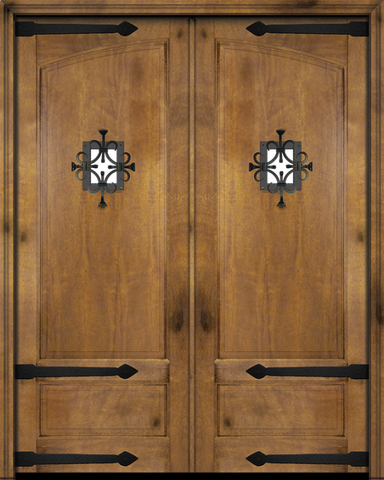 WDMA 56x96 Door (4ft8in by 8ft) Exterior Swing Mahogany Rustic 2 Panel or Interior Double Door with Speakeasy / Straps 1