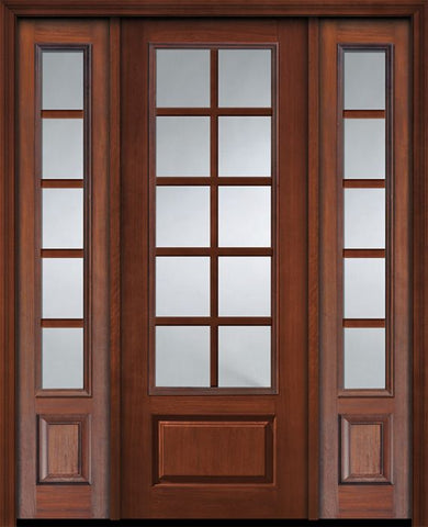 WDMA 56x96 Door (4ft8in by 8ft) French Cherry IMPACT | 96in 3/4 Lite 1 Panel 10 Lite SDL Door /2side 1