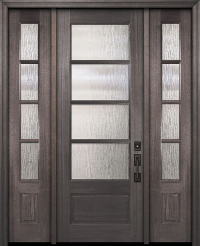 WDMA 56x96 Door (4ft8in by 8ft) Exterior Mahogany 96in 3/4 Lite 4 Lite Horizontal SDL DoorCraft Door /2side 1