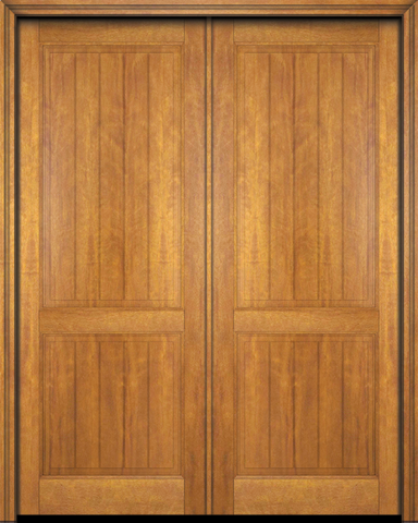 WDMA 56x96 Door (4ft8in by 8ft) Interior Swing Mahogany 2 Panel V-Grooved Plank Rustic-Old World Exterior or Double Door 1
