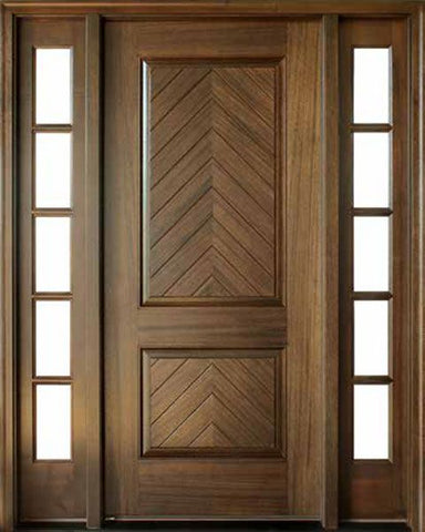 WDMA 56x96 Door (4ft8in by 8ft) Exterior Swing Mahogany Manchester Solid Panel Square Single Door/2Sidelight 1