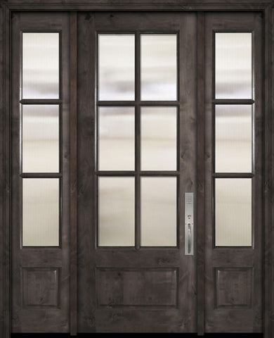 WDMA 56x96 Door (4ft8in by 8ft) Exterior Knotty Alder 96in 3/4 Lite 6 Lite SDL Estancia Alder Door /2side 1