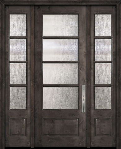 WDMA 56x96 Door (4ft8in by 8ft) Exterior Knotty Alder 96in 3/4 Lite 4 Lite Horizontal SDL Estancia Alder Door /2side 1