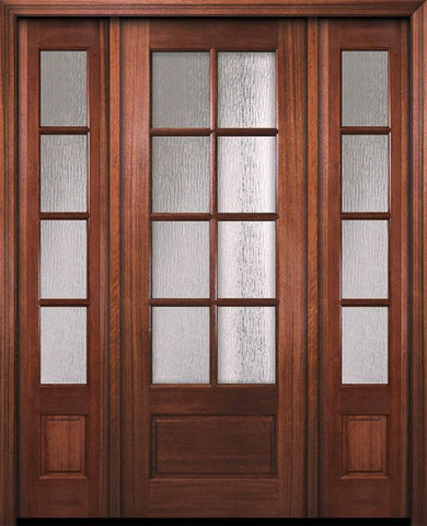 WDMA 56x96 Door (4ft8in by 8ft) Exterior Mahogany 96in 8 Lite TDL DoorCraft Door /2side w/Textured Glass 1